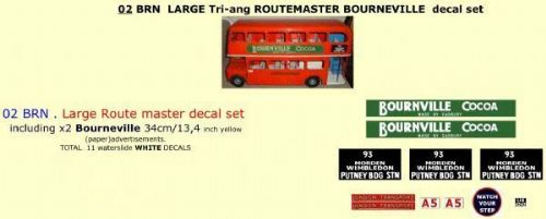 "02BRN LARGE Tri-ang Triang ROUTEMASTER Bus "" BOURNVILLE COCOA "" Paper and White decal set"